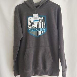 SPYDER Boys Hoodie Pullover Sweater Grey X…